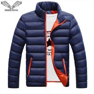 Image 1 - VISADA JAUNA 2019 남성 다운 코튼 자켓 코트 솔리드 컬러 브랜드 와일드 패딩 가을 겨울 남성 패션 빅 사이즈 6XL N5107