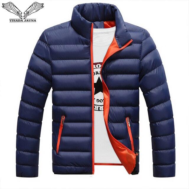 VISADA JAUNA 2019 남성 다운 코튼 자켓 코트 솔리드 컬러 브랜드 와일드 패딩 가을 겨울 남성 패션 빅 사이즈 6XL N5107