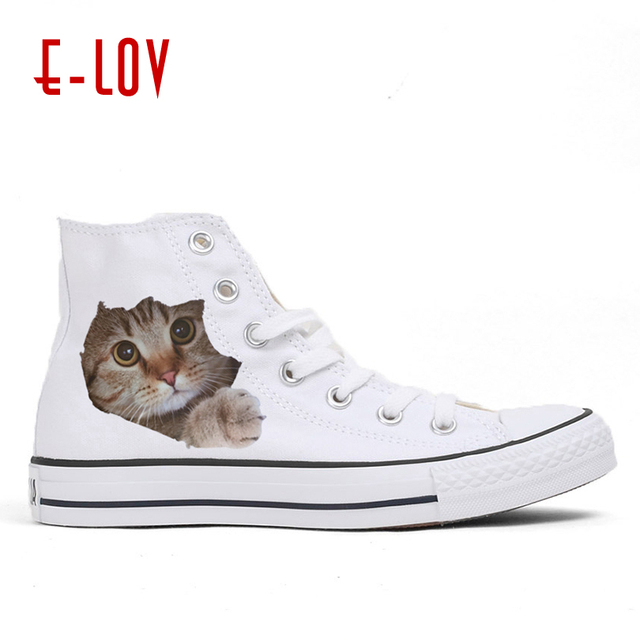 911449b5976c8 US $25.25 32% OFF|E LOV Lovely Cat Shoes Adult 2018 Adorable Kitty Casual  Shoes Platform Casual Shoes Women White Shoes Cat Print Platform Female-in  ...