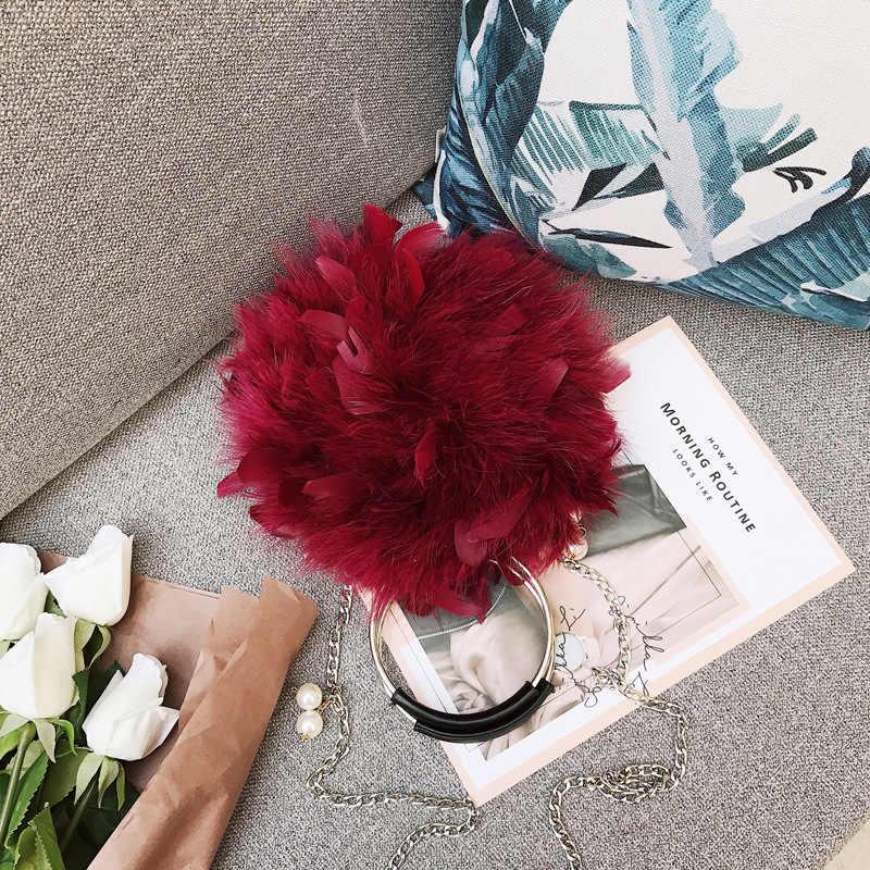 Mùa thu mới lông phụ nữ của Messenger túi vòng sang trọng túi khóa từ tính đà điểu feather chain vòng túi