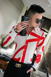 Image 5 - Top Quality Simple Men Shirts Brand Slim Fit Printing Shirt Men Long Sleeve Night Club Party Tuxedo Shirt All Match Blouse Homme