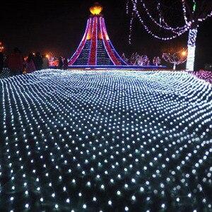 Image 5 - Tira de luces LED de red de 1,5x1,5 m decoración navideña, guirnalda de luces de hadas para exteriores, hogar, cortina de malla de boda, luces de jardín, 8 modos