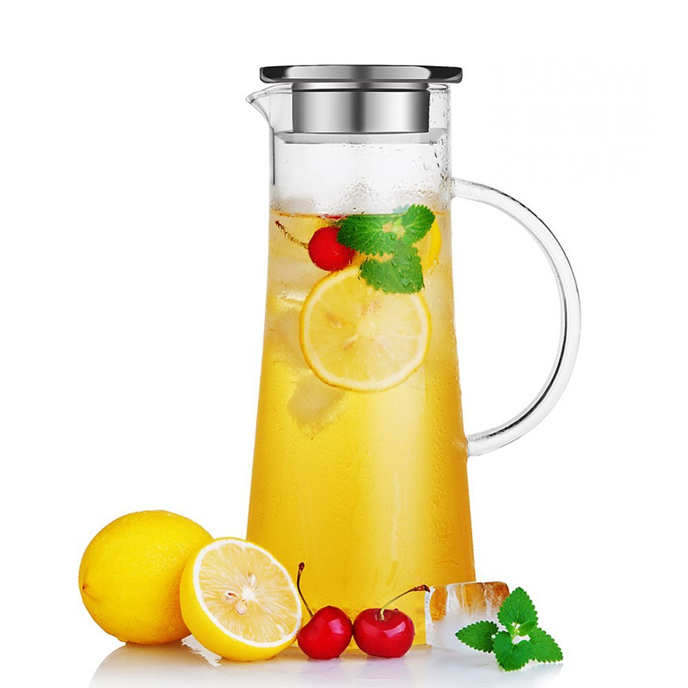 Glass Water Carafe with Stainless Steel Lid, 50 Oz / 1.5 L Borosilicate Glass Iced Tea Pitcher