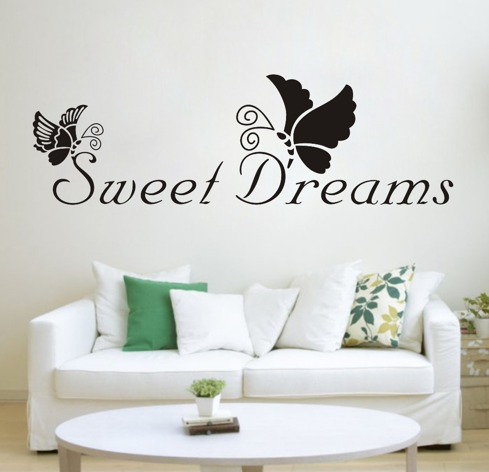 Black butterfly sweet dreams removable vinyl wall for Living room quote stickers