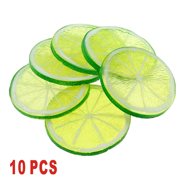 us 2 76 40 off 10pcs 5cm lifelike decorative artificial plastic lemon slice home decor fake fruit green orange yellow in artificial fruits from home