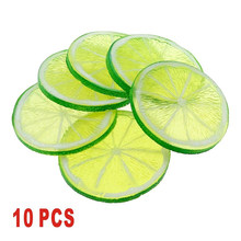 10pcs 5cm Lifelike Decorative Simulation Artificial Plastic Lemon Slice Home Decor Fake Fruit Party Kitchen Wedding Decoration(China)