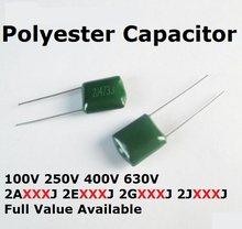Condensador de poliéster, 50 unidades, 630V, 2J222J, 2J152J, 100V, 2A563J, 2A683J, 2A823J, 2A104J, 100V, 56/68/82/100/0.0/0.00/1.5/2.2/NF/UF