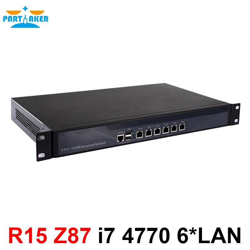 Partaker 1U Firewall Pfsense Firewall Appliance With 6 Gigabit LAN Intel Quad Core I7 4770  Wayos PFSense ROS Support AES-NI