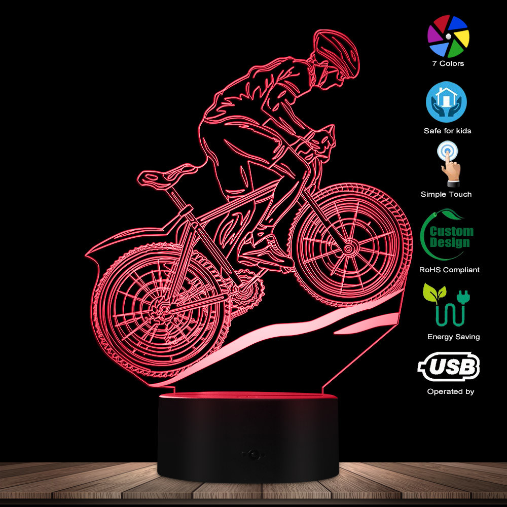 MTB Mountain Biker LED Optical Illusion Light Glowing USB Lamp Road Bicycling Light Color Changing Night Lamp Gift For Cyclist