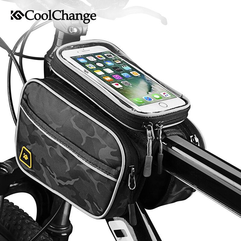 CoolChange sac de vélo Top Tube couverture étanche à la pluie téléphone portable vtt sac de vélo écran tactile cyclisme avant cadre sac 6.0/6.2 pouces
