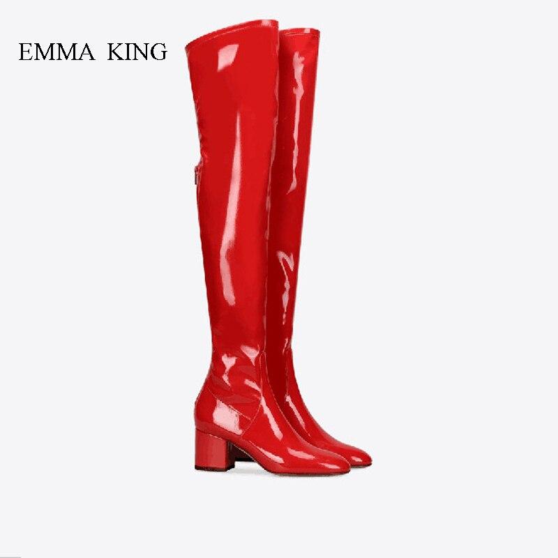 Nouveau confortable rouge Long talons Chunky cuissardes bottes femme Zapatos De Mujer automne hiver sur les bottes au genou femmes chaussuresNouveau confortable rouge Long talons Chunky cuissardes bottes femme Zapatos De Mujer automne hiver sur les bottes au genou femmes chaussures
