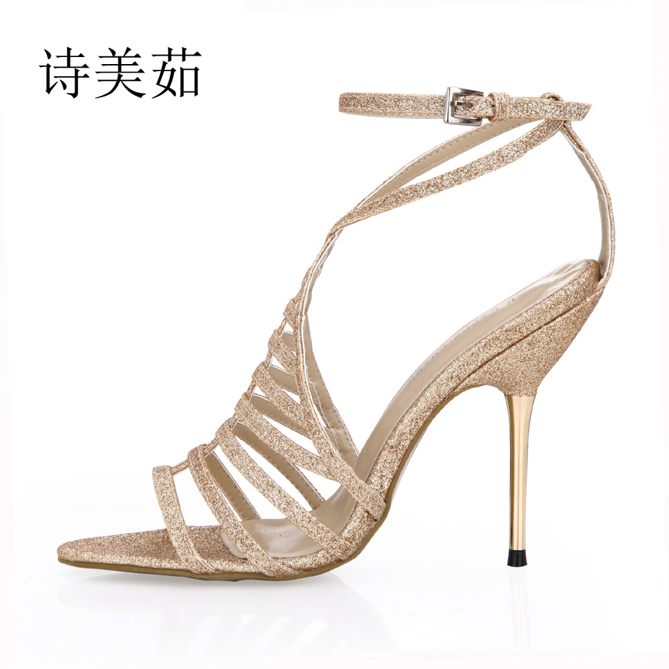2016 New Glod Glitter Sexy Wedding Bridal Shoes Women Stiletto Iron High Heels Gladiator Rome Lady Sandals Zapatos Mujer 3845C-4 2017 new ivory sexy wedding bridal shoes women pointed toe stiletto super high heels chain lace lady pumps zapatos mujer 0640 f5