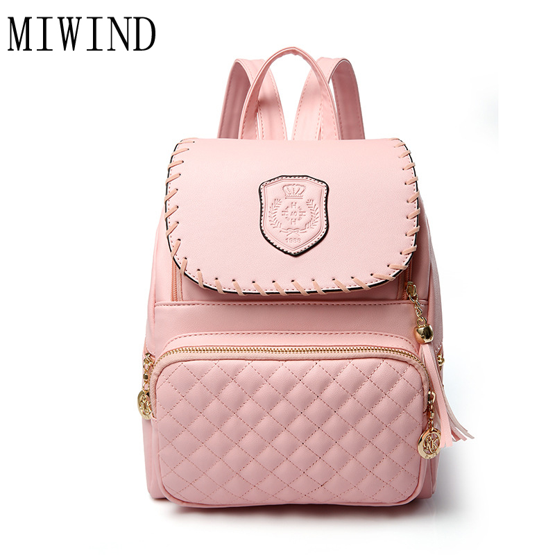 MIWIND Famous Brand Backpack Women Solid Pu Leather Shoulder bag Vintage School Bags for teenage Girls