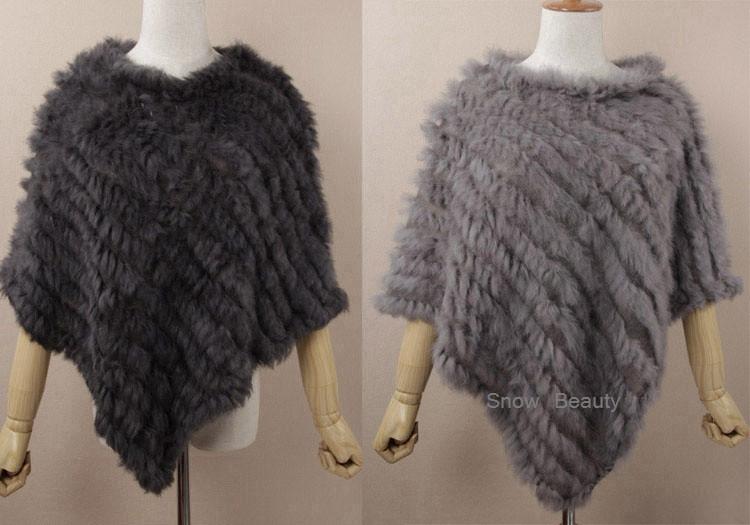 natural real knitted rabbit fur poncho shawl (25)