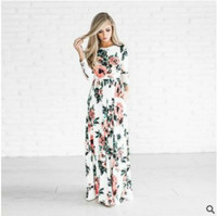 2018 Amazon Speed Sell Through Ebay The Explosion Round Neck Long Sleeve Printing Dress Longuette Multi