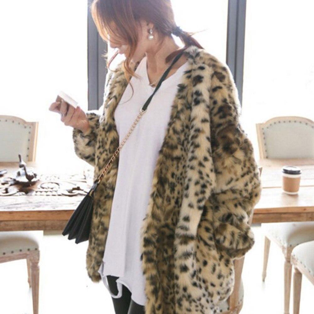 Women Faux Fur Coat Casual Long Fluffy Warm Coats Long Sleeve Female Outerwear Pocket Autumn Winter Leopard Print Coat