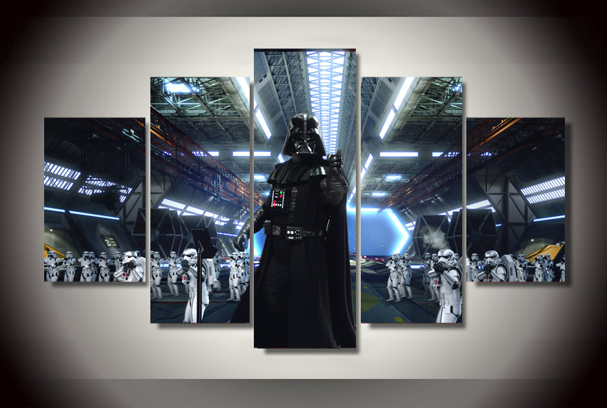 2017 real wall art cuadros canvas painting framed star wars movies painting on canvas room decoration