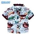 Comércio exterior do original single-meninos curto-de mangas compridas camisa 2016 Verão nova impressão crianças dinos-roupas camisa do bebê