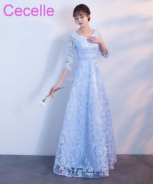 Vintage Blue Lace Long Modest Bridesmaid Dresses With Half Sleeves Full  Length Country Western Wedding Party Dresses Cheap 57d6218532a9