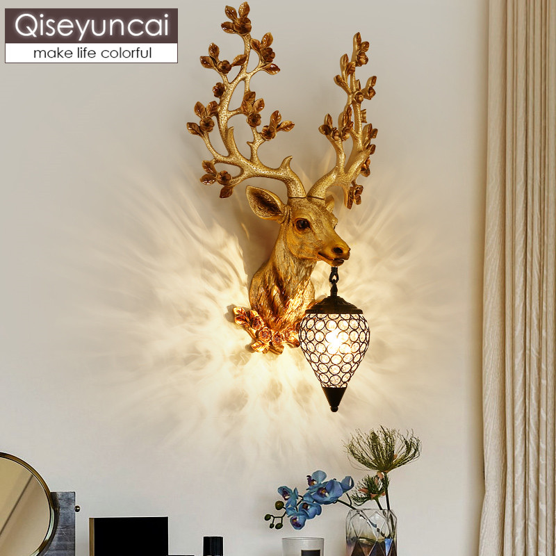 Resin deer head wall lamp North European living room TV background wall personality creative restaurant bar villa Antler wall la image