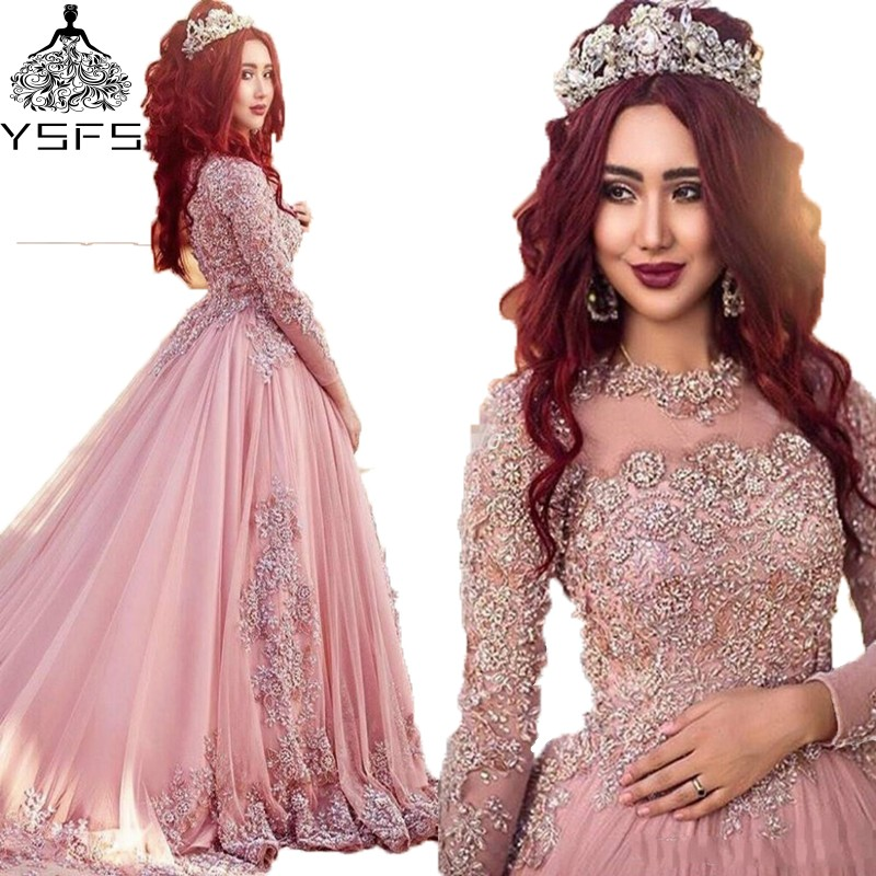 Elegant Long Sleeve Wedding Dresses Muslim Dress 2015: New Arrival Pink Muslim Wedding Dress Elegant Lace Long