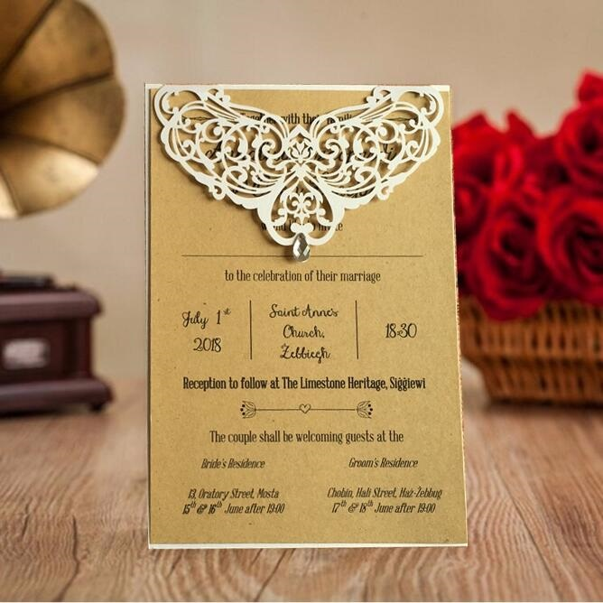 Laser Cut Wedding Birthday Party Invitation cards Menu Card Engagement Invitations With Rhinestone 100pcs Express Shipping