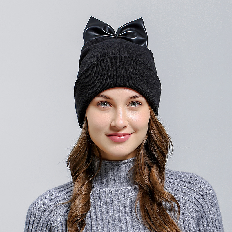 Trendy Women Casual Warm Knitted Bow-knot Design Beanies Hat Korean Style Female Skullies Autumn Winter Cap Fashion Accessory toyouth skullies beanies 2017 autumn women letters jacquard warm thicken knitted hat female