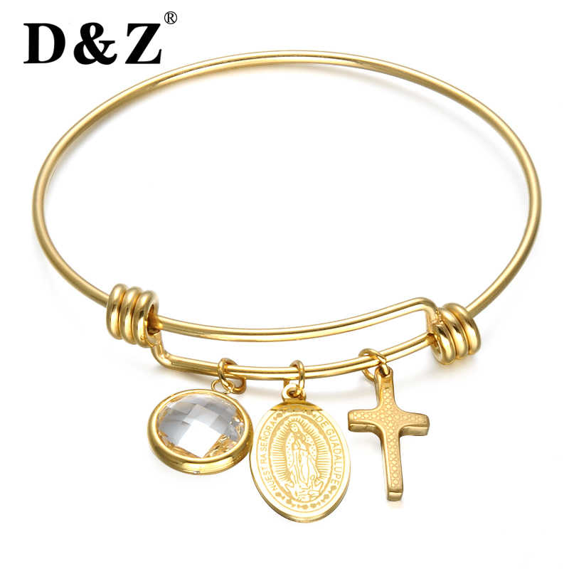 D&Z Religious Virgin Mary Cross Bracelet Gold Stainless Steel Bling Crystal Adjustable Wire Wrapped Bangles Bracelets Jewelry