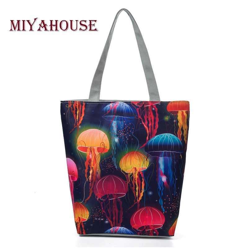 fec365bedf17 Miyahouse Новая красочная Медуза пляжная сумка с принтом для женщин  холщовый дизайн большой вместительности женская сумка
