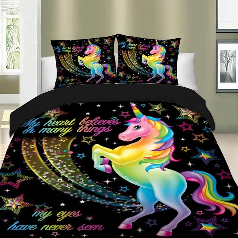 LANGRIA Unicorn Bedding Set 3D Printed Colorful 2/3 Pcs Bedding Set Duvet Cover Set Pillowcase With Zipper 7 Sizes