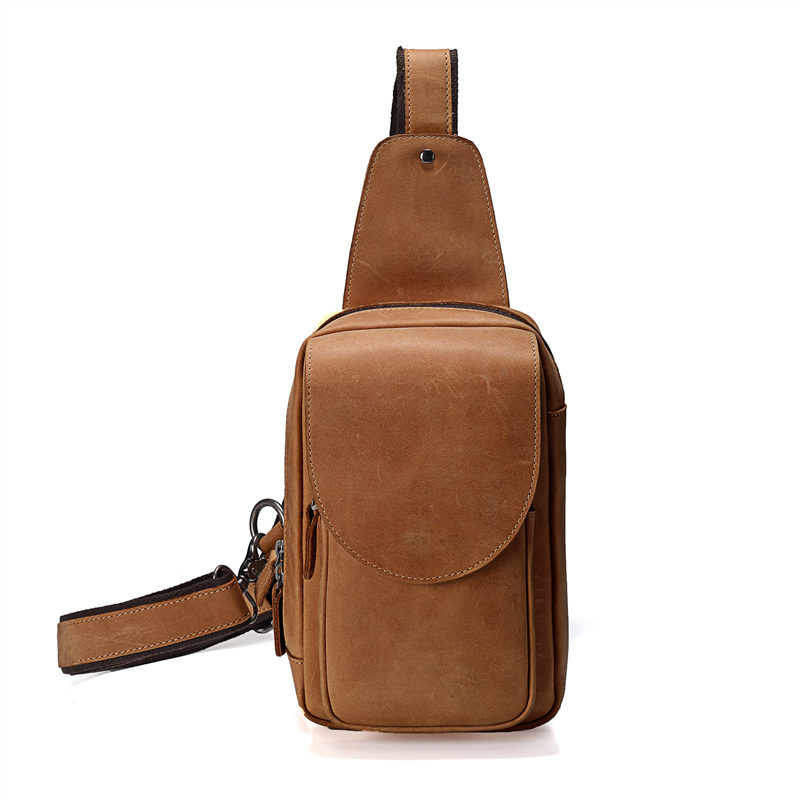Nesitu Brown Color Vintage Real Skin Genuine Leather Women Man Chest Bags Crazy Horse Leather Men Messenger Bags #M8067