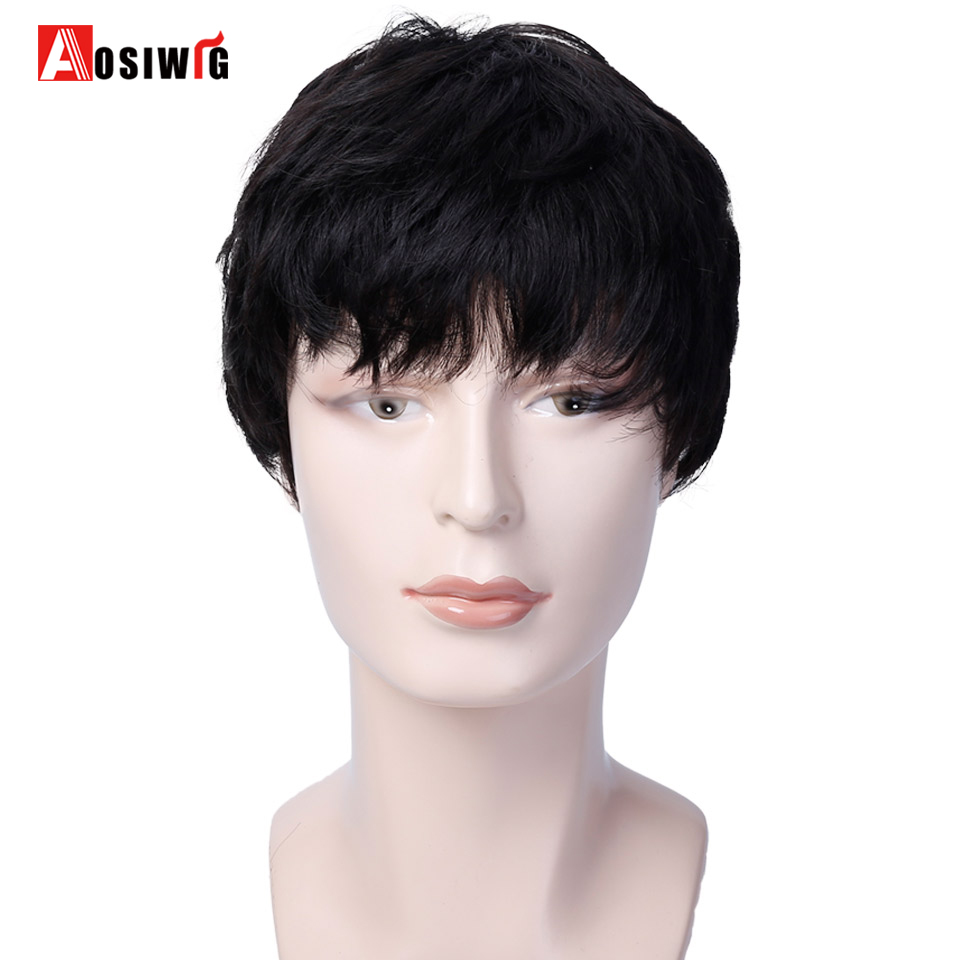 AOSIWIG Men Wigs Short Straight Hair 3 Colors Natural Synthetic Hair Pixie Cut Wigs Heat Resistant Cosplay Wigs