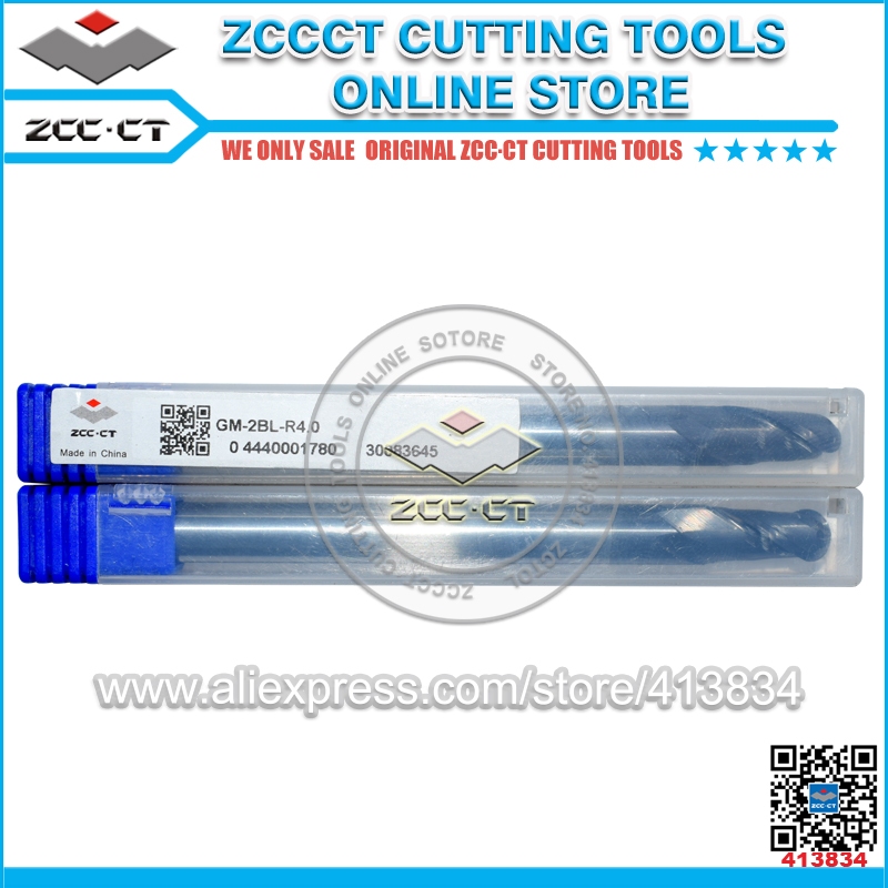 1pc GM-2BL-R4.0 ZCCCT tungsten carbide end mill ZCC.CT 2 flute ball nose end mills with straight shank/ Long cutting edge zcc ct gm 4bl r7 0 4 flute ball nose end mills with straight shank long cutting edge end mills cutter