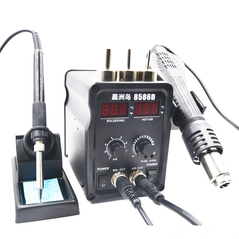 8586D Double Digital Display Hot Air Gun Soldering Station 2 In1 Adjustable Temperature Electric Soldering Iron Welding Tool цена