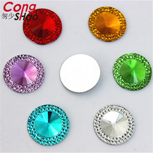 Cong Shao 100PCS 20mm Round Shape Resin Rhinestone Flatback Beads Strass Crystal Stones For Clothes Decoration Craft DIY CS442