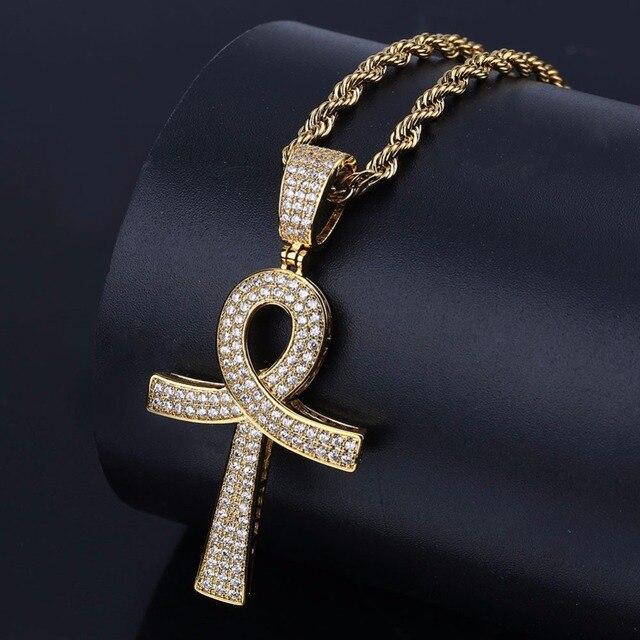 b5796abb523c Egipcio Ankh clave Cruz colgantes collares para hombres mujeres oro plata  Color CZ cristal pavimentado Bling Ice Out Hip Hop rapper joyería