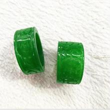 Myanmar jade зеленый монарх тянет полный цвет сухой зеленый Citroen сырой нефрит резное кольцо для мужчин и женщин