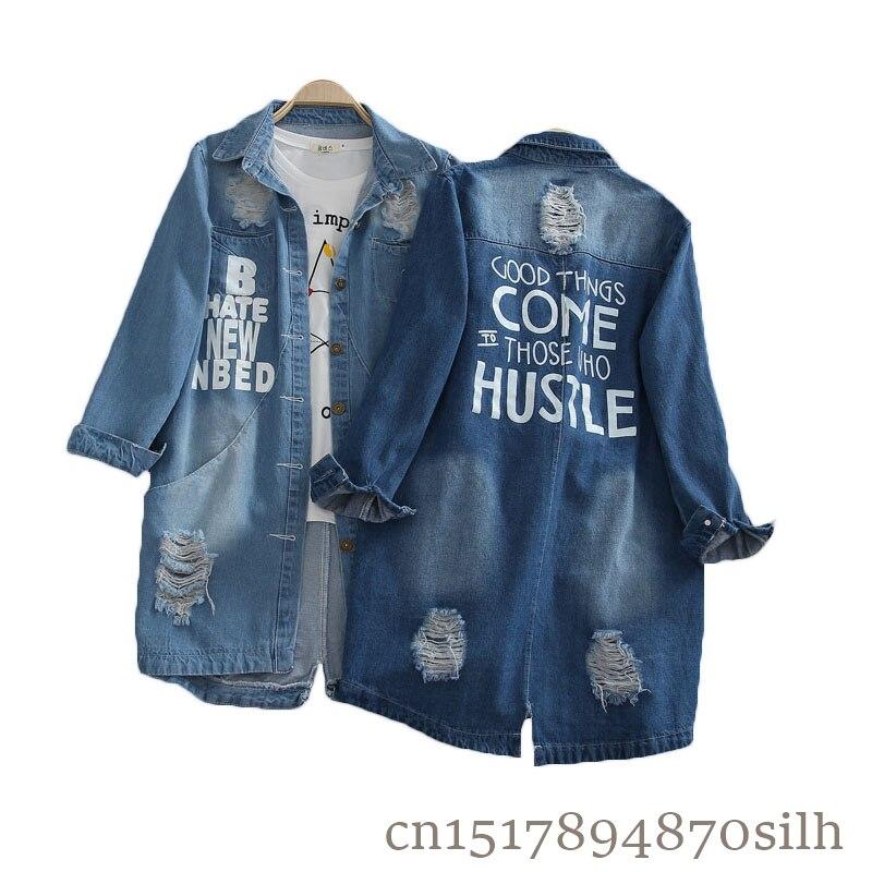 Fashion Plus Size S-8XL 2018 Ladies Denim Jackets Spring Autumn Hole Long Sleeve Casual Windbreaker Women Jeans Coat Outerwear