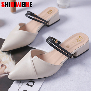 Image 1 - Party Chicผู้หญิงMulesรองเท้าแตะPointed Toe Blockสายคล้องปิดตื้นรองเท้าส้นสูงรองเท้าแตะสีดำBeigeส้นปั๊มส้น