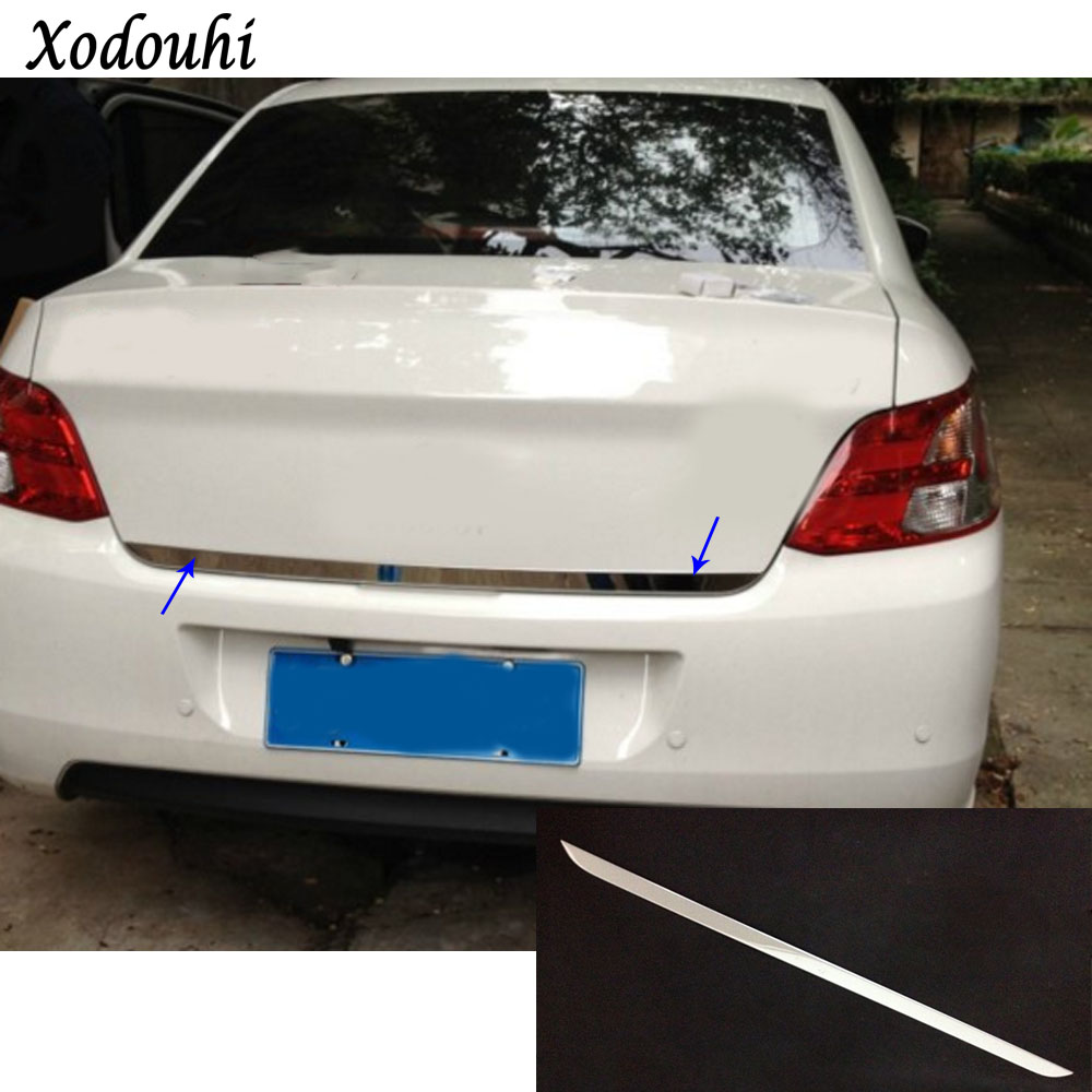 For Peugeot 301 2014 2015 2016 2017 car Sticks body cover stainless steel Rear door Tailgate frame plate trim lamp molding 1pcs