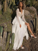 فستان شيفون طويل موديل بوهيمي أنيق