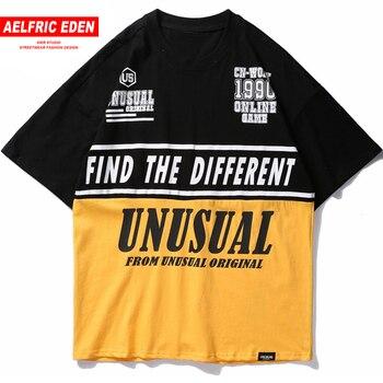 Aelfric 2018 Eden Color Patchwork bloque carta impresión T camisa camisetas  casuales Streetwear urbana hombre hombres de manga corta ropa Un01 780498f7cc9