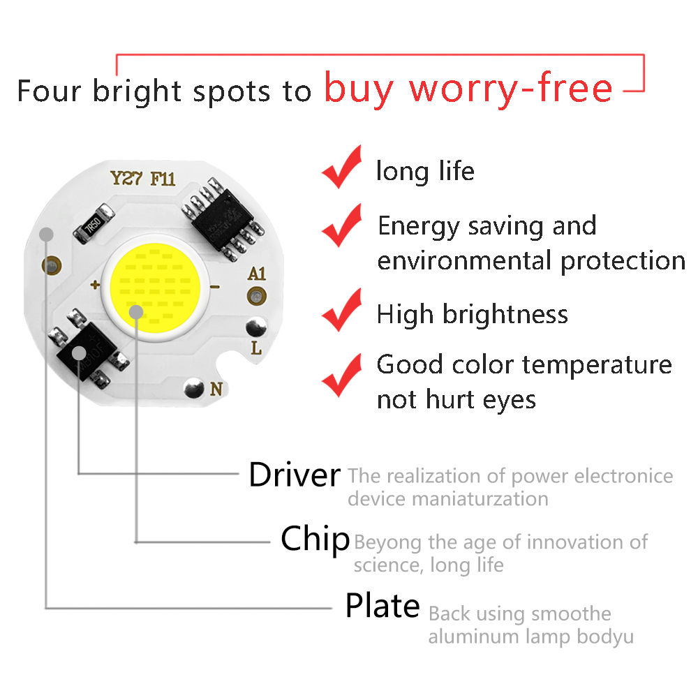 Image 2 - 5pcs COB LED Lamp Chip Real Power 3W 5W 7W 10W 12W Y27 LED Lamp Bulb 220V IP65 Input Smart IC For DIY LED Flood Light Spotlight-in LED Bulbs & Tubes from Lights & Lighting