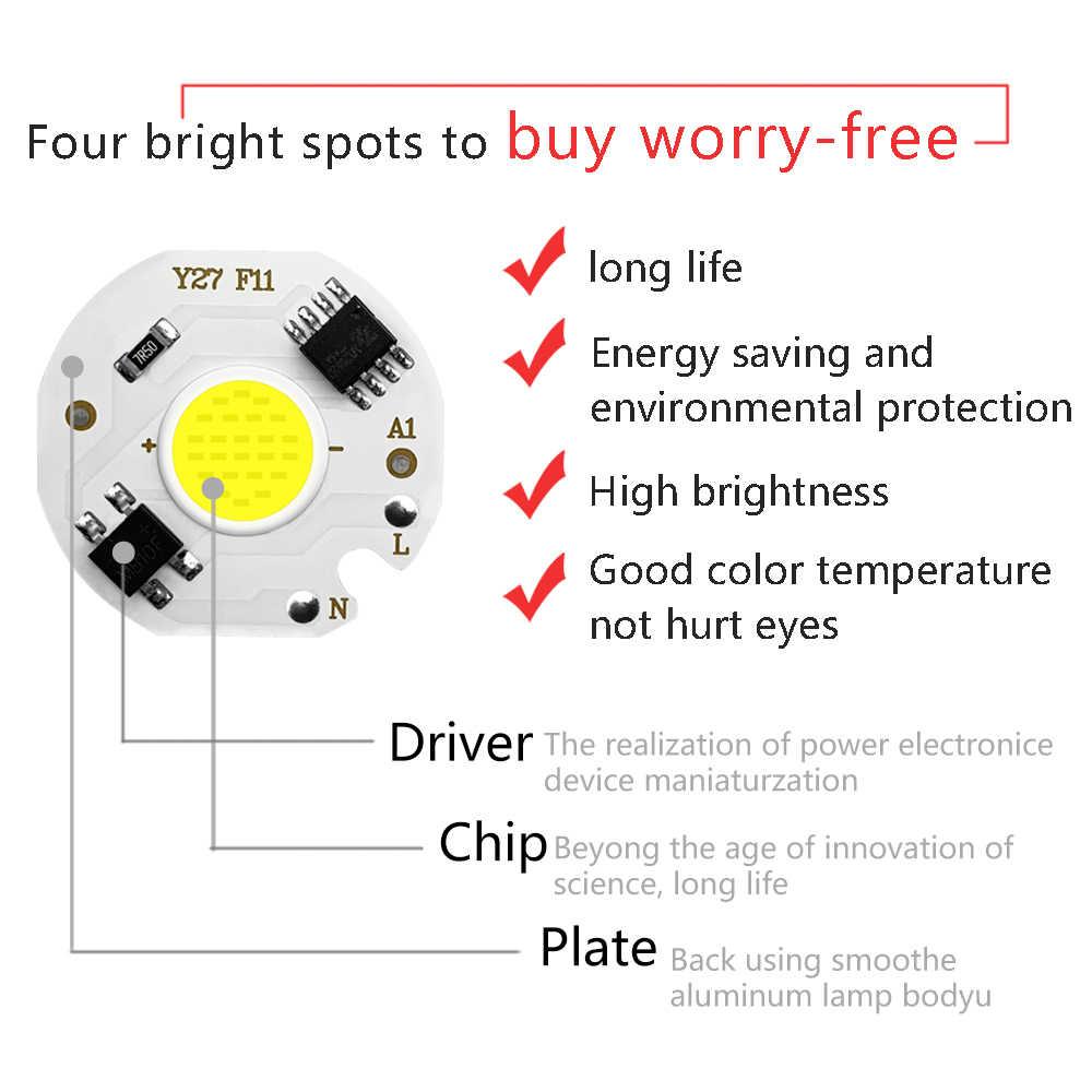 5pcs ชิป COB LED โคมไฟ Real Power 3W 5W 7W 10W 12W Y27 LED หลอดไฟ 220V IP65 อินพุตสมาร์ท IC สำหรับ DIY ไฟ LED น้ำท่วม Spotlight