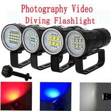 LED צלילה פנס XHP70 / 90 LED צילום וידאו אור 20000LM מתחת למים 100m עמיד למים טקטי לפיד מנורה