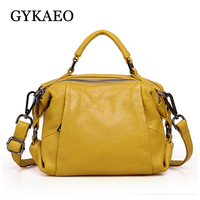 GYKAEO Winter Female Shoulder Bag Ladies Fashion Small Boston Genuine Leather Handbag Women Cowhide Crossbody Bags Bolsos Mujer