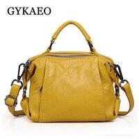 GYKAEO Winter Female Shoulder Bag Ladies Fashion Small Boston Genuine Leather Handbag Women Cowhide Crossbody Bags Bolsos Mujer