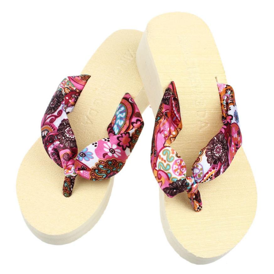 Summer Women Flip Flops Wedge Platform Thong Flip Flops Sandals Shoes Beach Casual Slippers DropShip 2018JU20 2018 new bohemian women sandals crystal flat heel sandalias rhinestone chain women wedge shoes thong flip flops shoes