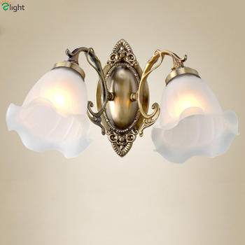 Europe Retro Frosted Glass Led Wall Lights Fixtures Lustre Bronze Bedroom Led Wall Lamp Luminarias Corridor Wall Light Lamparas