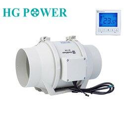 6'220v ventilador de conducto silencioso en línea ventilador de escape fuerte con interruptor de temporizador inteligente para ventilación Interior Exterior ventiladores de inodoro
